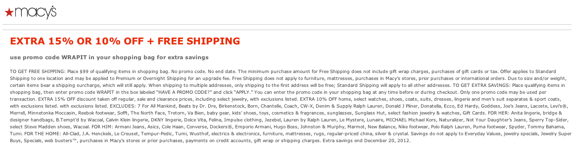 Macy's Exclusions
