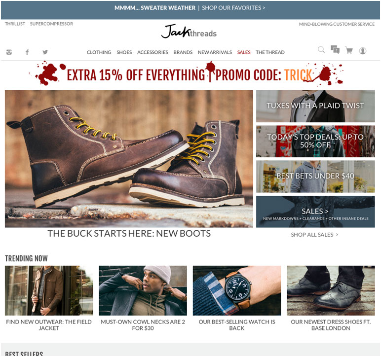 Jack Threads Home Page