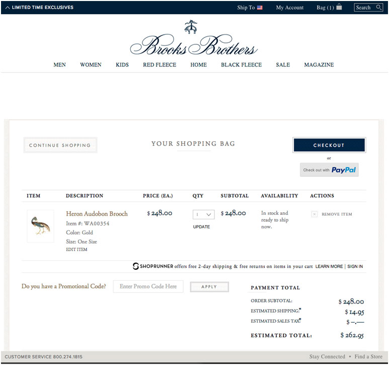 Brooks Brothers Shopping Cart