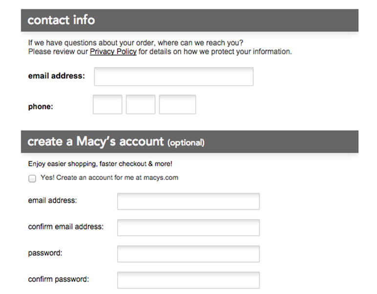 Macy's Check Out Asks Redundant Information