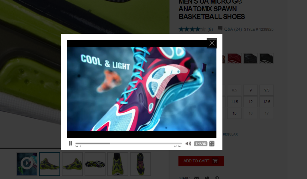 Under Armour's product page video