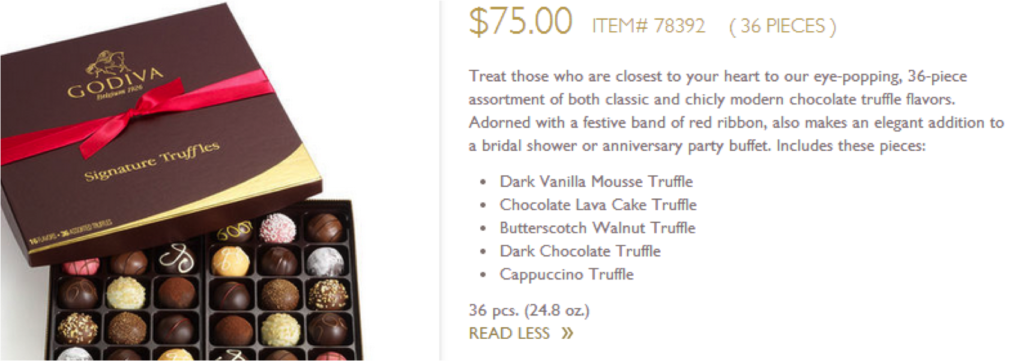 product description on Godiva's product page gives key information